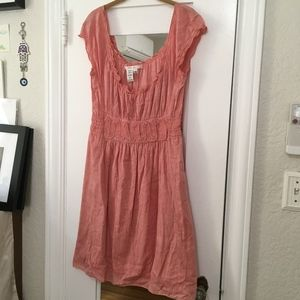 Studio M Red Chambray Milkmaid Peasant Dress